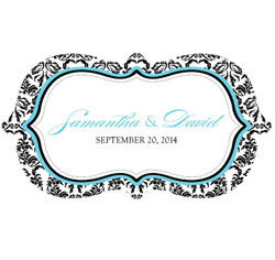 Love Bird Damask Personalized Wedding Window Cling in Black and White with Aqua Blue