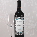 Love Bird Damask Personalized Wedding Wine Label