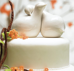 Love Birds White Wedding Cake Topper