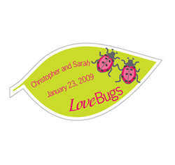 "Cute ""Love Bugs"" Leaf Shaped Personalized Wedding Favors Stickers Lime Green and Pink"