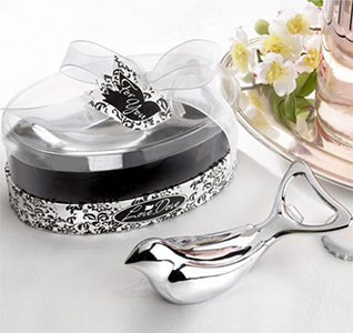 The Love Dove Silver Chrome Wedding Bird Bottle Opener