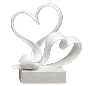 Love Link Stylized Double Hearts White Wedding Cake Topper