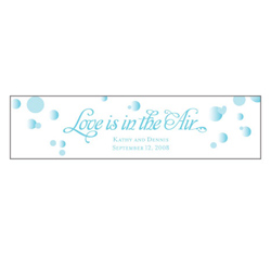 Love is in the Air Personalized Wedding Favor Bubble Sticker in Blue and White