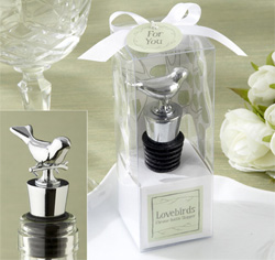 Silver Lovebirds Chrome Wedding Wine Bottle Stopper