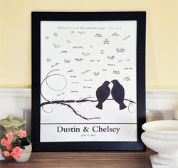 Lovebirds Wedding Guest Canvas Signature Frame