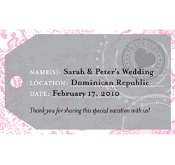 Personalized Luggage Tag Card Wedding Favor