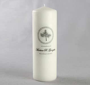 White Wedding Memorial Pillar Candle with Tree