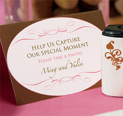 Personalized Wedding Memories Camera Table Sign in Pink and Brown