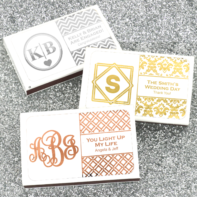 Monogram Metallic Foil Personalized White Matchboxes | Wedding ...