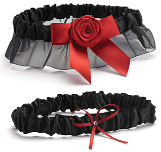 Midnight Rose Garter Set
