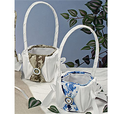 Military Digital Camouflage Wedding Flower Girl Basket in White with Brown or Blue for Army or Navy