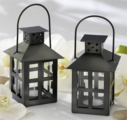 Luminous Black Mini-Lantern Tea Light Holder Black and White Wedding Decor