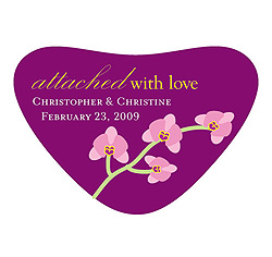Mini Orchid Heart Shaped Personalized Wedding Favor Stickers in Purple