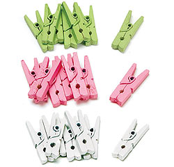 Mini Green Pink or White Wooden Clothes Pins Hangers Clips for Wedding Favor Decor