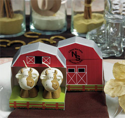 Miniature Cow in Barn Wedding/ Party Favor Candles