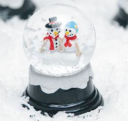 Miniature Winter Snowglobes Bride and Groom Snowmen Winter Themed Wedding Favors