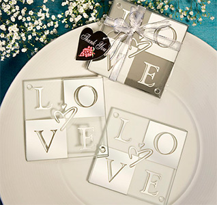 Mirror Finish Love Coaster Wedding Favors