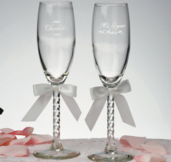 Mis Quince Anos and Chambelan White Toasting Glasses