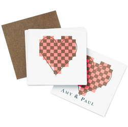 Mod Heart Personalized Wedding Gift/ Favor Tags Pink and Brown