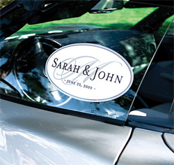 Monogram Personalized Wedding Car Window Cling in Lavender Purple