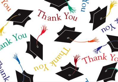 Black and White Colorful Graduation Thank You Cards