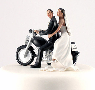 Motorcycle Get Away Bride and Groom Wedding Cake Top