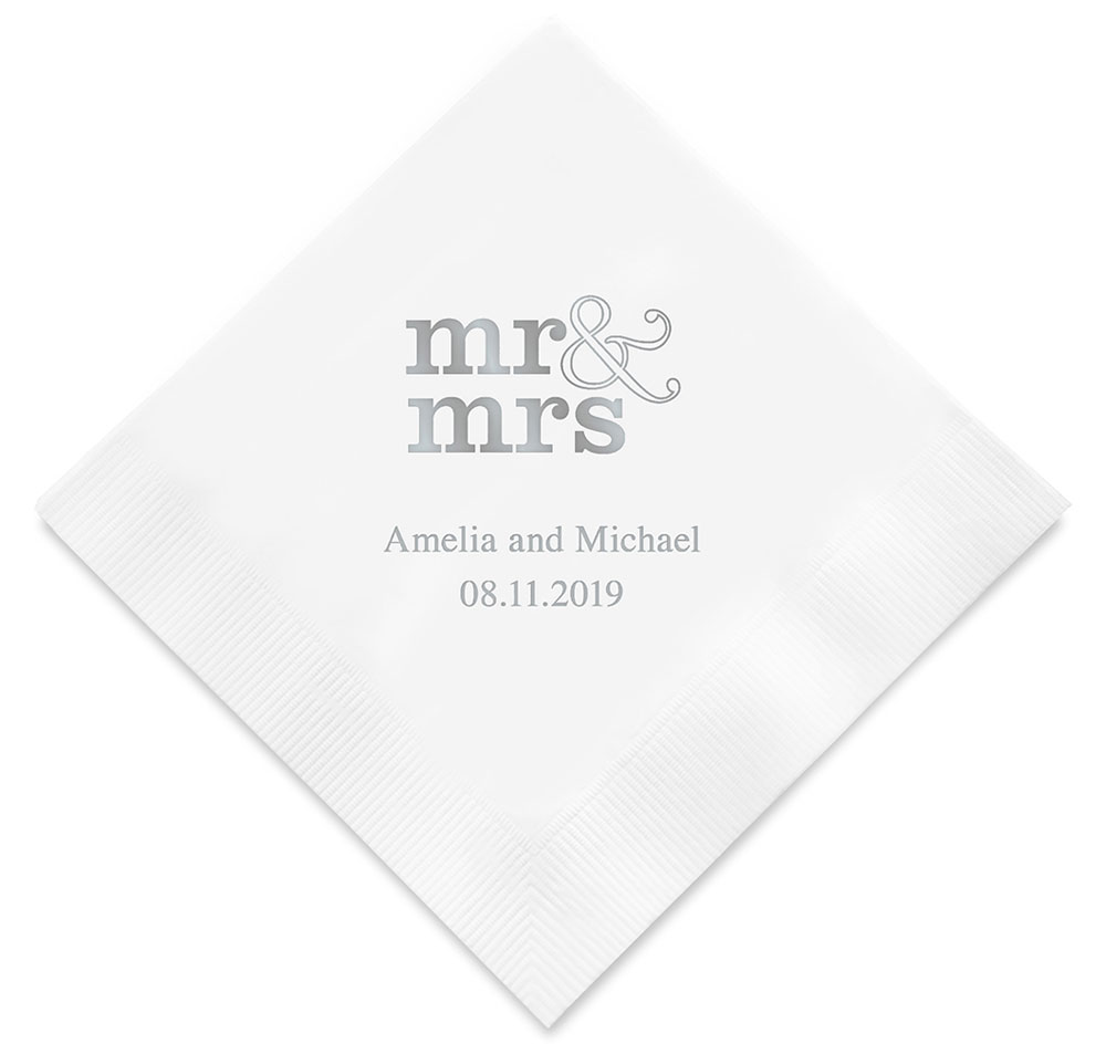 4a57775a40bde6 Mr.   Mrs. Personalized Wedding Napkins