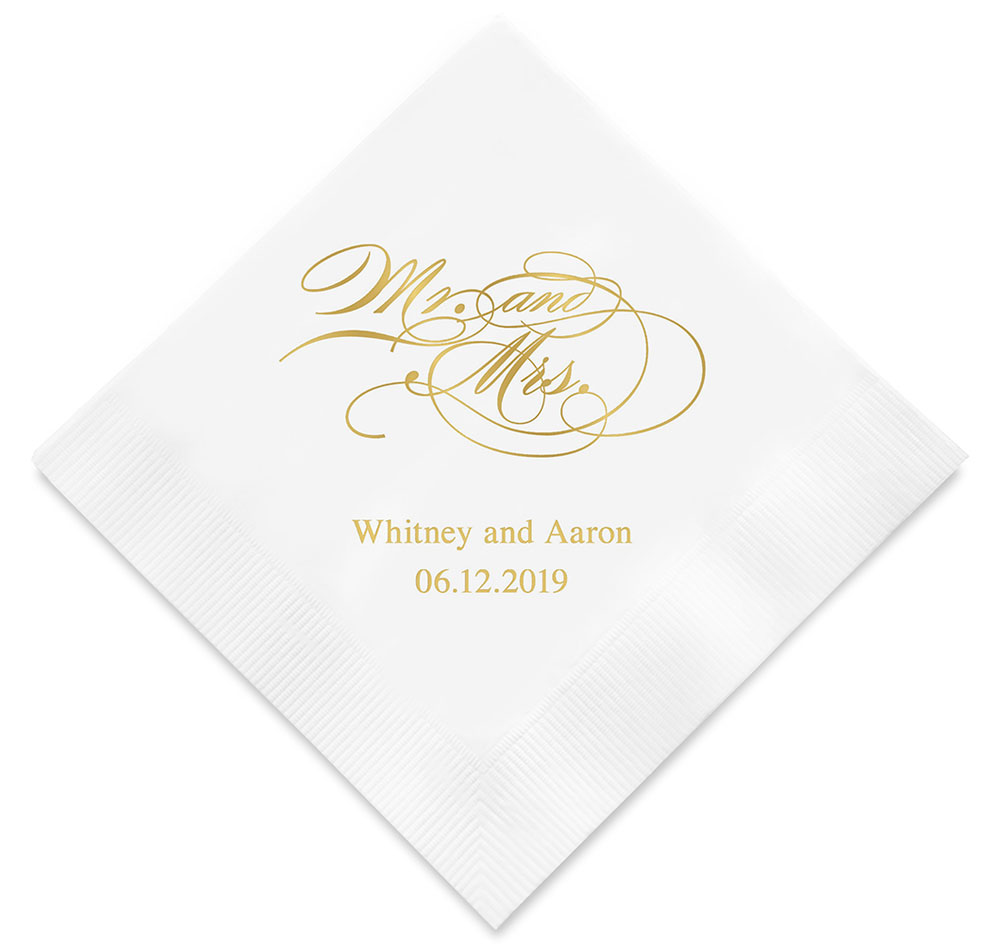 Mr. and Mrs. Script Personalized Wedding Napkins | Personalized Napkins