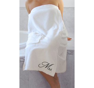 Mr. and Mrs. White Terrycloth Bath Wrap