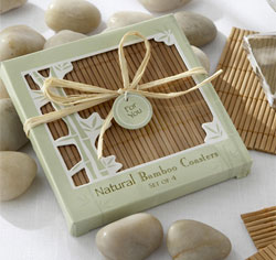 Natural Bamboo Eco-Friendly Brown Wedding Coaster Favors