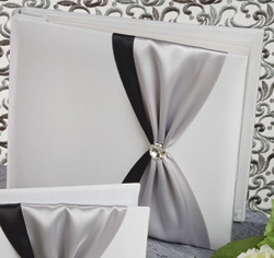 Nostalgia White or Ivory with Custom Ribbon Color Wedding 8 Inch by 8 Inch Album Black and Silver