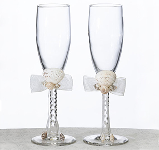 Beach Sea Shells Oceans Away Wedding Toasting Flute Glasses