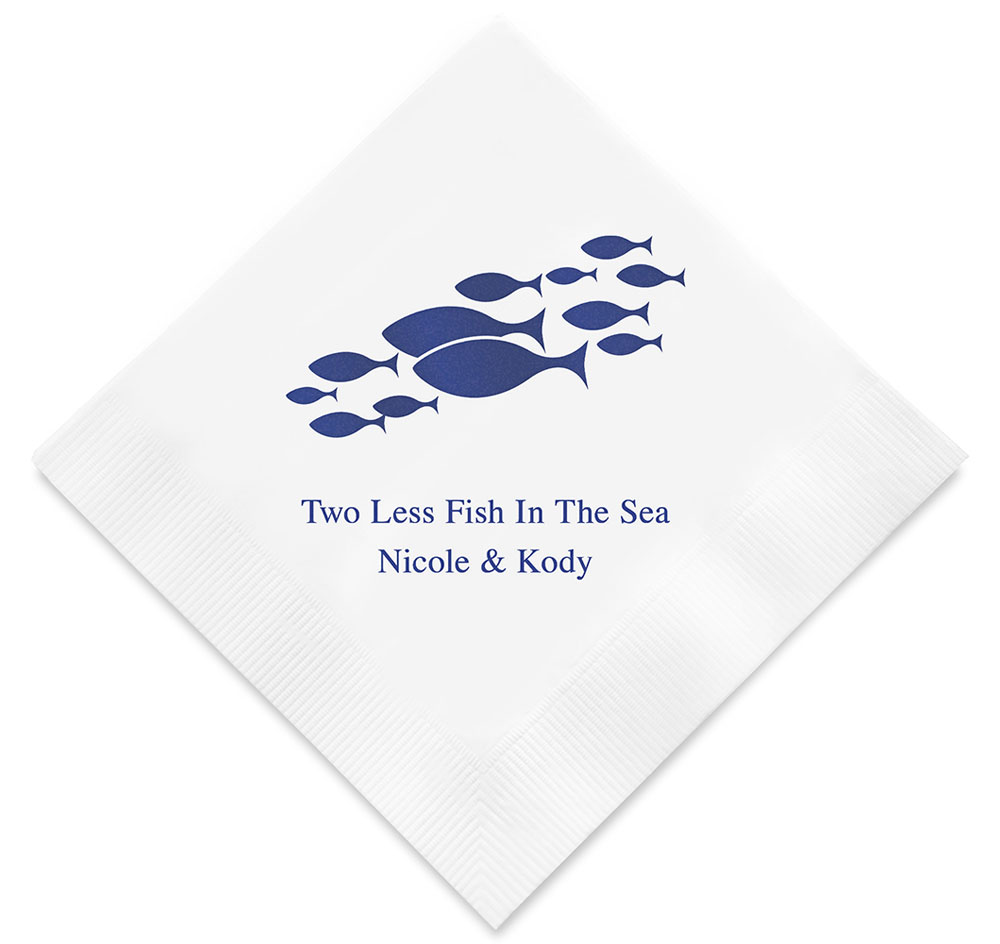 Of All the Fish in the Sea Personalized Napkins | Wedding Napkins