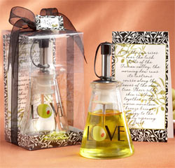 Olive You! Glass LOVE Olive Oil Bottle Black and White and Green Kitchen Wedding Favor