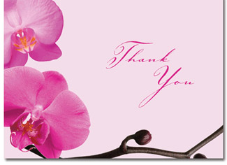 Orchids Pink Wedding Thank You Cards