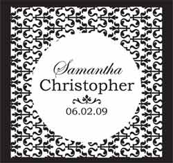 Ornamental Black and White Pattern Wedding Favor/Placecards