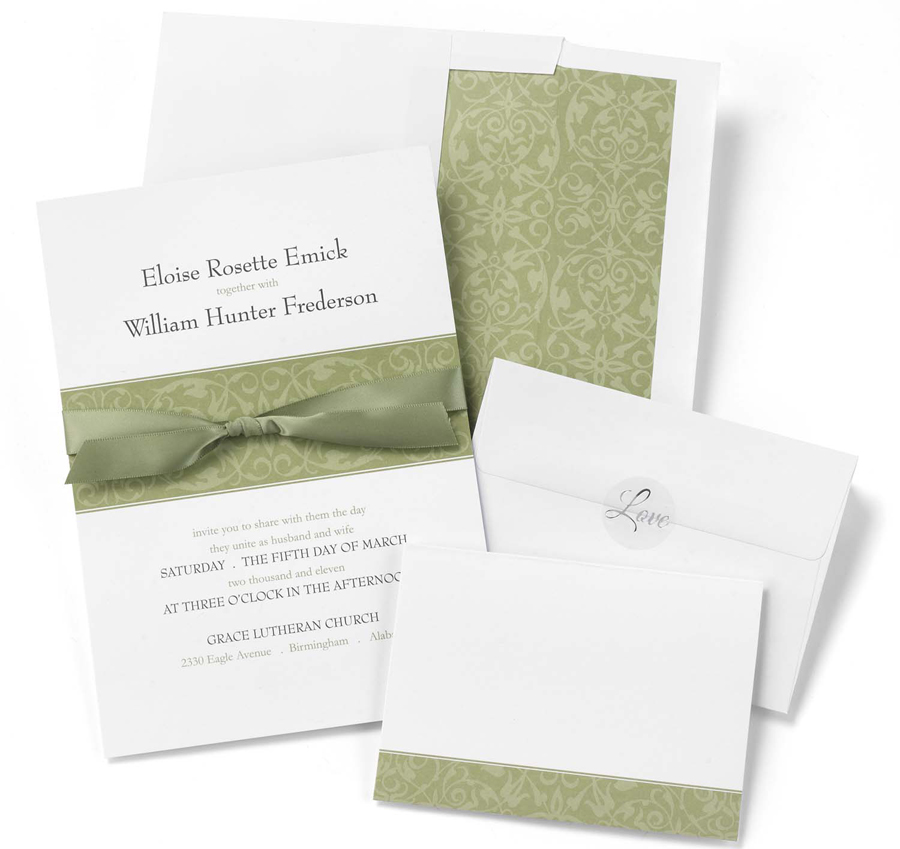 Wedding Invitation Diy Kits: Olive Band DIY Wedding Invitation Kits