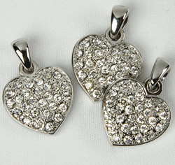 Pave Clear/Silver Crystals/Rhinestones Heart Charm for Bracelet or Wedding Favor