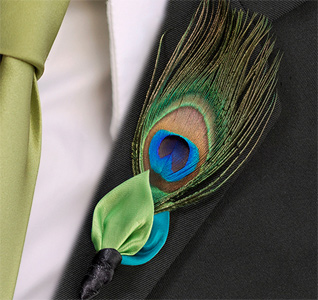 Blue and Green Wedding Boutonniere