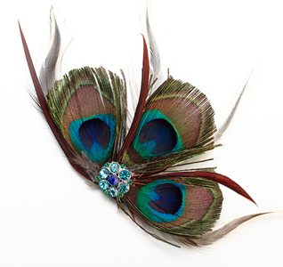 Blue and Green Wedding Hair Clip