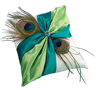 Peacock Wedding Ring Bearer Pillow