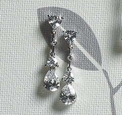 Cubic Zirconia Pear Drop Silver Earrings