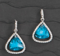 Aqua Blue Pear Stone Earrings with Rhinestone Edge