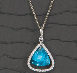 Aqua Blue Pear Stone Pendant with Rhinestone Edge on Chain Necklace