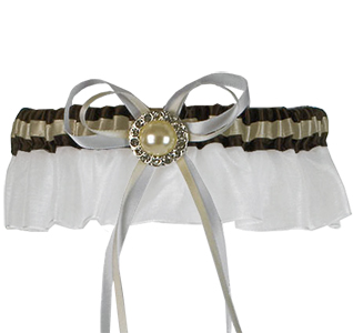 Brown and Ivory Pearl and Crystal Brooch Wedding Garter