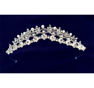 Pearl Flower Rhinestone Wedding Tiara For Bride
