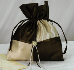 Pearl and Crystal Brooch Brown and Tan and Ivory Wedding Money Bag
