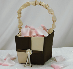 Brown and Tan Ivory Pearl and Crystal Brooch Wedding Flower Girl Basket