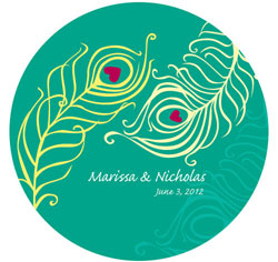 Perfect Peacock Personalized Wedding Sticker in Peacock Green