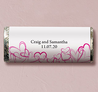 Contemporary Hearts Wedding Candy Bars